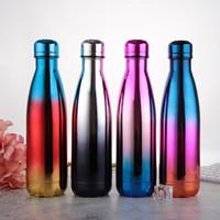 زجاجة الفولاذ المقاوم للصدأ المياه 17oz مزدوجة الجدار معزول كولا شكل زجاجة لالباردة والدافئة زجاجة المشروبات BPA المعدنية مجاني الرياضة
