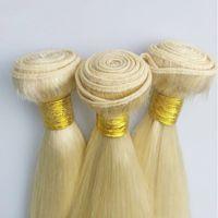 Top 100g qualità 3pcs Virgin estensioni dei capelli Biondi brasiliana trama dei capelli di colore # 613 peruviano mongola tessuto dei capelli cambogiana indiana