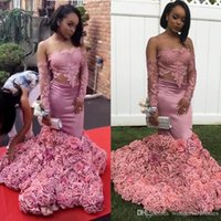 Sexy Pink 3D Rose Flowers Mermaid Prom Dresses 2018 Lace App...