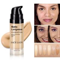 15ML / 30ML SACE LADY الوجه الأساس كريم الأساس ماكياج المهنية ماتي إنهاء المكياج السائل المخفي العلامة التجارية مستحضرات التجميل الطبيعية