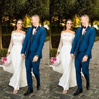 Elegante Schulterfrei Aline Brautkleider mit Spitze mit langen Ärmeln bodenlangen Preiswertes nach Maß Braut Gowl Kleider