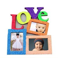 Photo Frame New Durable Oco Amor De Madeira Moldura De Fotos Da Família Rahmen Branco Base Art Home Decor