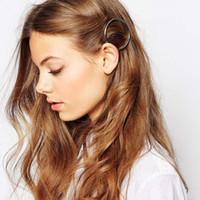 Clip Accessori di moda capelli della donna triangolo Capelli Pin metallo geometrica Holder lega Hairband Luna Circle Hairgrip Barrette Ragazze