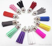 Wholesale tassel de gamuza para llavero correas de joyería de joyería tasel de cuero 3.5 cm DIY joyería pendiente haciendo hallazgos