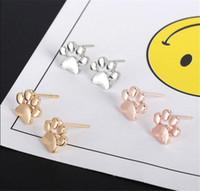Полых Pet Cat собак Paw печать Серьга стержень девушка женщины способ Puppy Мемориал Минималистских животные Footprint Stud T545