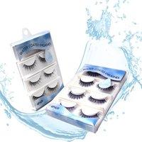 4 Pair/box Water Self-Stick False Eyelashes Glue Free Self Adhesive Self-coated Reusable Thick Fake Lashes