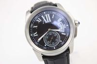 뜨거운 판매 좋은 품질의 자동 기계 유리로 돌아 가기 시계 구경 남자 시계 실버 스테인레스 벨트 Siliver 해골 남성 손목 시계