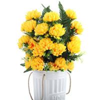 4 colores 52 cm 3 unids 27 cabezas de seda gerbera margarita crisantemo flores artificiales para el cementerio tumba boda decoración del partido del hogar