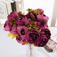 الحرير الفاوانيا زهرة الزهور الاصطناعية 13 رؤساء الأوروبي الفاوانيا وهمية زفاف العروس باقة داخلي الرئيسية الطرف الديكور