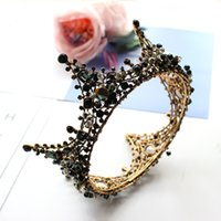 diadema vintage nero barocchi rotonde Tiara Perline con strass nero Corone Hairband Royal Queen fascia per la festa delle donne Wedding Accessori per capelli
