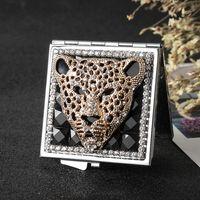 Карманный мини Косметическое зеркало для макияжа, 2 Sides Складная Малый Компактный ручной Зеркало для макияжа Леопард, Оптовая партия благосклонности подарков