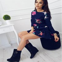 Hot Sell Fashion New Women Long Sleeve Floral Empire Loose Dress Casual Bodycon Party Evening Short Mini Dress Sundress Costume