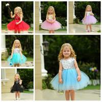Baby Röckchen Kleid Pailletten-Kind-Baby-Abendhochzeitskleid Sleeveles Prinzessin Backless Partei-Kleid für Mädchen-Sommer-Kleider 5 Schichten LT975