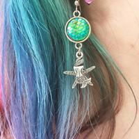 Novo estilo de prata antigo peixe escala sereia brincos de estrela do mar gancho de orelha mulheres criativas jóias populares designer brincos presente do dia dos namorados