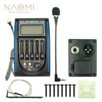 NAOMI Guitarra acústica de 5 bandas EQ Preamp Prener-PM Ecualizador de ecualizador de 5 bandas Ecualizador Sintonizador LCD con micrófono