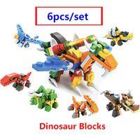 Disponibles 6 en 1 Transformación Dinosaur Robot Ladrillos Bloques de construcción Compatible con Lepinblocks Figuras Juguetes educativos Envío gratis