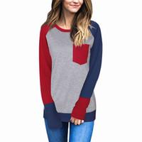 Primavera mujeres raglán patchwork bloque de bolsillo de manga larga camiseta de béisbol empalme de algodón camiseta moda mujer ropa de maternidad camiseta más tamaño