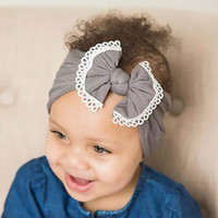 2019 Baby Headbands Girl Hair Bows con Lae Elastic Headwrap Neonati Bowknot Turban Nylon Headband Bambini Accessori per capelli Copricapo