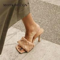 Motk Becon Woven Chinelos Mulheres Sapatos Quadrado Toe Salto Alto Slides Senhoras Sandálias de Verão Zapatos de Mujer A012