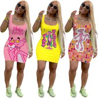 Sommer Frauen Cartoon Minikleid Trendy Print Weste einteiliger Kleid Designer Rosa Panther Hüfte Paket Rock Sexy Skinny Bodycon Kleid 3139
