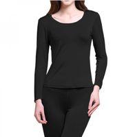 Camicia termica intimo 100% pura seta lavorata a maglia intimo donna Long Johns Top manica lunga solo taglia M L XL XXL