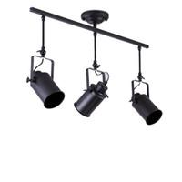 4-HEADES Noir Spotlight Lumière Antique Fin en fer forgé Fercée Fermée LED Piste lumineuse Définir le plafonnier rétro industriel rétro E27