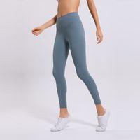 Los pantalones de yoga desnudo del color muchachas de las mujeres largas L-27 de desgaste del color sólido de gimnasia de los deportes altas polainas de la cintura elástico de la aptitud de la señora Medias general