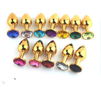 Oro metal Mini juguetes anales Butt Plug Booty Beads Juguete sexual Cristal de acero inoxidable Joyería Juguetes sexuales 72 * 28mm tamaño pequeño