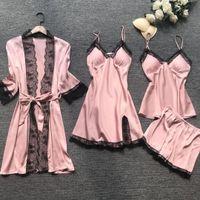Yaz Kadın Pijama Setleri 4 Adet Seksi Dantel Pijama Kadın Saten Ipek Pijama Sandık Pedleri ile Zarif Pijama Homewear