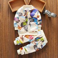 2020 Nuevo Primavera Autumn Baby Boy Boy Chica Trajes Set 2 unids Outfit Mariposa Cremallera Chaqueta + Pantalones Set de deportes al aire libre