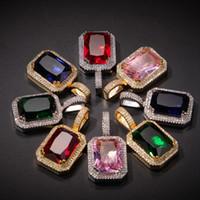 Мужские хип-хоп ожерелье ювелирные изделия мода драгоценные камни каменные подвесные красные розовые драгоценные камни ожерелья с 3 мм * круглосуточная цепь