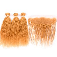 실란다 헤어 퓨어 오렌지 컬러 킨키 곱슬 레미 인간의 머리 직조 번들 3 13x4 레이스 정면 클로저가있는 짜기 무료 배송