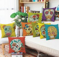 Halloween gift colorful skull pillow case Linen pillowcase s...