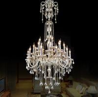 أسلوب بسيط كريستال الأوروبي مصباح غرفة المعيشة الحديثة ضوء الشموع الكبيرة مجمع فيلا مشروع الدرج الثريا 12 أو 18 الذراع LLFA