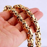 Цепи 4/5 / 8 мм широкий византийной коробки со ссылкой цепь мужчин Ожерелье или браслет для ювелирных изделий 7-40 дюймов бесплатно Выберите цвет золота из нержавеющей стали