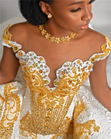 Роскошное русалка с открытыми плечами и бисером Платье с отстегивающимся шлейфом и аппликацией в винтажном стиле Саудовская Аравия Дубай Свадебное платье больших размеров