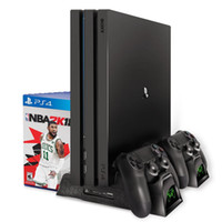 PS4 / PS4 Magro / PS4 Pro controlador duplo Carregador Console Vertical Cooling Suporte Recarregador cartão Dock Station Armazenamento Para Playstation 4