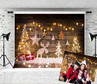 Çocuklar Noel Partisi ateş Fotoğraf Stüdyosu Prop için 7x5ft Noel Ağaç Arka planında Glitter Geyik Bokeh Yıldız Dekor Fotoğrafçılık Backgrounds Rüya