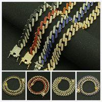 13mm 10 Цвета персонализированного Золота Серебро Hip Hop Bling Алмазного кубинский Link Chain ожерелье для мужчин Майами Рэпер Bijoux Мужских Цепей ювелирных изделий