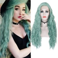 RONGDUOYI Mint Green Lace Front Wig Synthetic Long Water Wav...