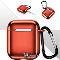 Per Airpods 1 2 Caso con le cuffie elettrolitico TPU di Apple Airpod auricolare copertura della protezione del gancio di chiusura Portachiavi di lusso con scatola al minuto noey