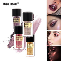 4pcs / lot Brand Music Flower Glitter Sombra de ojos Polvo suelto Diamond Shine Eye Shadow Shimmer Nude Brighten Gold Metallic Makeup