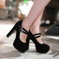 Pompe Flock New Shoes donna piccoli cantieri 32 33 di grande formato 46 45 44 43 42 41 40 tacco alto 12CM Piattaforma 4CM EUR Taglia 31-47