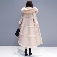 فو الفراء معطف القطن سميكة المرأة الخريف الشتاء الكورية الجديدة ابق دافئة رشاقته طويل الخريف المرأة سترة F1072