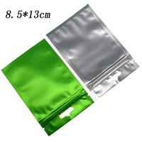 8,5 * 13cm verde opaco in alluminio trasparente in plastica trasparente con chiusura a zip borsa Reclosable poli in poliestere aperto in alluminio con elettronica per imballaggio alimentare