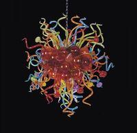 خمر البوهيمي مصابيح متعددة الألوان الثريات الصمام اليد في مهب الزجاج كرات شنقا سلسلة الثريا ضوء تركيبات