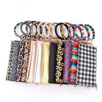 PU Couro Bangle Carteira Leopard Bolsa Keychain saco pulseira Mulheres Meninas Moda wristlet Bolsa Bag Mulheres HHA1400