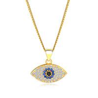 클래식 터키 블루 이블 아이 목걸이 반짝이 큐빅 지르코니아 가짜 다이아몬드 아이 펜던트 골드 플래티넘 체인 여성용 럭셔리 쥬얼리 액세서리