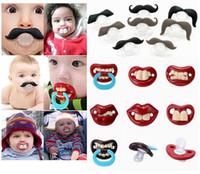 100 adet Sevimli Komik Apluk Emzik Bebek Yenilik Annelik Yürüyor Çocuk Diş Çıkarma Nipeller Komik Bıyık Diş Emzikler