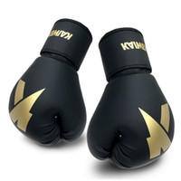 Guanti da boxe 4oz ~ 16oz Traning Guanto MMA Sandbag PU PU Cuoio per gli uomini Donne Bambini Sport Borsa pesante Muay Tailandese Combat Combat Kickboxing Taekwondo OEM Scatola logo personalizzato